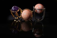 Rings from the Trend Focus collection by Marco Cruz Joalheiro. Soft Colors, Middle Ages, Cocktail Rings, Jewelry Collection, Amethyst, Pearl Earrings, Coral, Romantic, Engagement Rings