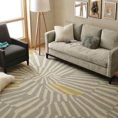 Good rug to tie in my ochre walls with a grey couch I want.  Help cool the space a bit.