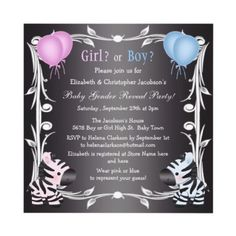 Cute Pink & Blue Zebras Baby Gender Reveal Shower Custom Announcements by GroovyGraphics