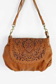 Brown vut out small crossbody bag