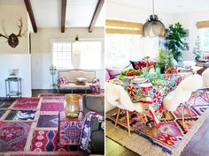 Whether you are layering a patterned rug on top of another patterned rug or mixing a pattern with a natural woven, sheepskin, or hide rug,the more the better. I have 6 rugs in my living room, all overlapping creating a boho patchwork-style carpet. I personally feel you can never have too many