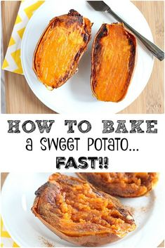 This is my favorite way to prepare a sweet potato, and there's a secret to cutting the baking time IN HALF!