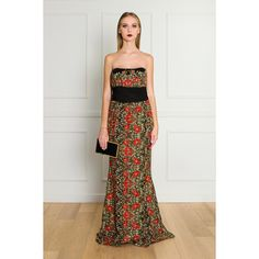MARCHESA Poppy Embroidered Gown ($2,840) ❤ liked on Polyvore featuring dresses, gowns, floral gown, floral print evening gown, mini dress, floral mini dress and marchesa evening gowns