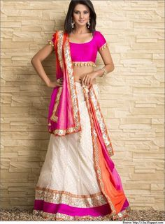 Pink, Gold and Ivory White make for a great combination to wear to a day-time event. #choli #lehengacholi #designercholi