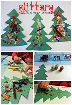 Glittery Christmas Tree Collages for Toddlers! A simple Christmas craft for kids!