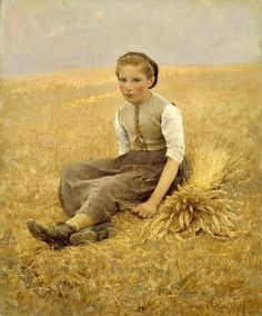 """The Little Gleaner"" -- 19th Century -- Hugo Salmson -- Swedish -- Oil on canvas -- Swedish National Museum, Stockholm."