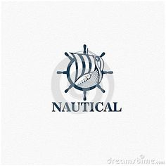 Nautical logo with viking ship and steering wheel as an icon.