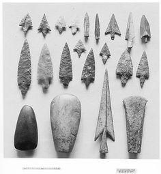 Celtic tools, 10000-5000 BC, Tuscany. Top row, arrowheads; middle row, spear points; bottom row, hand axes and spearhead.