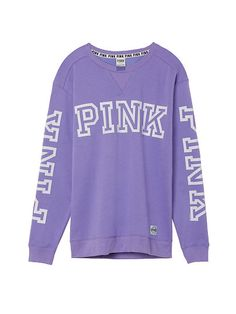 Chic Brand New Victoria's Secret PINK Campus Crew Size Medium Light Purple Womens Activewear from top store Vs Pink Outfit, Pink Outfits, Cute Outfits, Adidas Originals, Victoria Secret Outfits, Victoria Secrets, Pink Nation, Cute Shirts, Pink Shirts
