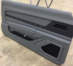 Custom built door panels for the 69 camaro grey black billet grommets. Car Interior Upholstery, Automotive Upholstery, Custom Car Interior, Truck Interior, Custom Trucks, Custom Cars, Camaro Interior, Vw Lt, Car Restoration