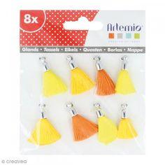 Set de pompones tassels 8 cm - Tonos amarillos - 6 uds - Fotografía n°1