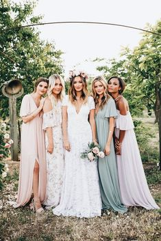 30 Chic Bohemian Wedding Theme Ideas is part of Bridesmaid dresses - Boho style fits perfectly for creative couples who want to avoid triviality on wedding! You're going to want to see these bohemian wedding theme ideas Mismatched Bridesmaid Dresses, Brides And Bridesmaids, Bridesmaid Dresses Mismatched Boho, Bridesmaid Color, Pastel Bridesmaid Dresses, Bridesmaids In Different Dresses, Bridesmaid Flower Crowns, Bridesmaid Dress Sleeves, Bride And Bridesmaid Pictures