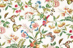Parrot fabric tropical peach Oriental, Standard Cut asian-fabric