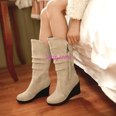 Womens Vogue Pull On Faux Suede Wedge Heel Zipper Casual Shoes Mid-Calf Boots #