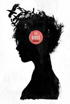 the birds, hitchcock, film artwork