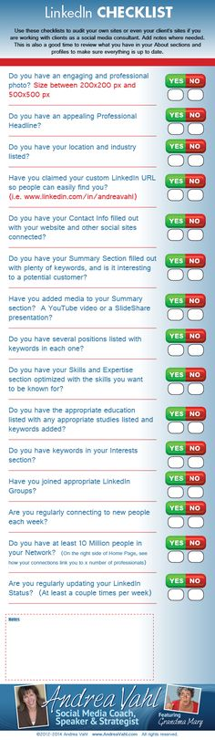 Improve your #LinkedIn profile or page with this LinkedIn Checklist [Infographic]