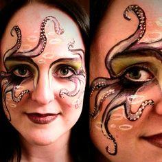 Octopus Face-Paint •10mins •Paints: Snazaroo 28 color palette +  B & W 18ml/ea.  •Fine glitter of various colors to finish