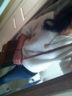 Another Goodwill oversized chunky sweater top I paid like 3 bucks for??? the vintage fossil necklace and the VINTAGE Louis Vuitton came from a storage unit I scored at auction... a GOOD score!