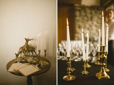 Winter Wedding, gold deer figures, gold candleholders with taper candles, escort list on clipboards