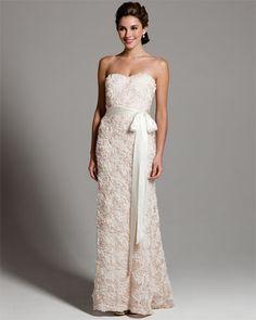 Badgley Mischka Ivory Rosette Gown