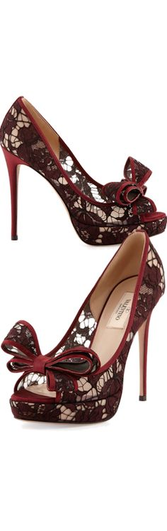 Valentino ~ Lace Bow Peep Toe Pump, Bordeaux