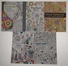 Adult Coloring Books Lot 5 Forest Sea Floral Woodland Nature Quality Thick Paper