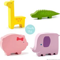 fun decorative piece that's also functional! We love it when a decorative item in baby's room does double-duty as a functional item too.   With seven different designs to choose from (there's an alligator, a giraffe, an elephant, a piggy, a whale, a bunny, and a bird), these Pearhead Wooden Banks are a fun addition to the nursery shelves — and make unique baby shower gifts