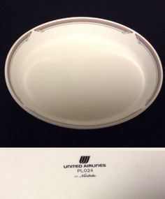 "United Airlines Connoisseur 7 1/2"" oval bowl by Noritake.  Number PL024."