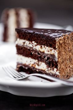 chocolate layer cake with coffee liqueur and plum jam