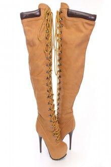 Tan Lace Up Thigh High Platform Boots Nubuck