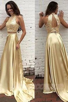 Gorgeous Sparkly Handmade Gold Prom Dresses,Long 2 Pieces Prom Gowns,Charming Women Dress http://www.luulla.com/product/603663/gorgeous-sparkly-hnadmade-gold-prom-dresses-long-2-pieces-prom-gowns-charming-women-dress