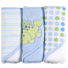 "SpaSilk 3 Pack Hooded Towels with Dinosaur Embroidery - Blue - SpaSilk - Babies ""R"" Us"
