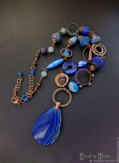 Cobalt blue with copper Bold Necklace, Beaded Tassel Necklace, Fashion Necklace, Beaded Jewelry, Jewelry Necklaces, Pendant Necklace, Beaded Bracelets, Copper Jewelry, Stone Jewelry