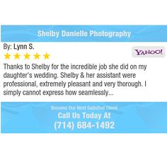 Thanks to Shelby for the incredible job she did on my daughter's wedding. Shelby & her...