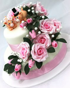 viorica's Cakes: Wedding Cake with pink roses and pigs