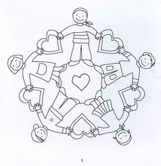 Mandala con niños y corazones Mandala Coloring, Colouring Pages, Coloring Sheets, Adult Coloring, Coloring Books, Mandalas Painting, Mandalas Drawing, Mandala Art, Yoga For Kids