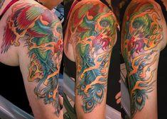 phoenix in flames 30 Groovy Half Sleeve Tattoos For Men