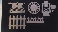 7pc vintage plain chipboard. sizzix diecut- fence lantern picture Wheel border