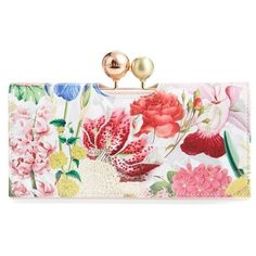 Ted Baker London Floral Wallet (£105) ❤ liked on Polyvore featuring bags, wallets, ivory, leather kiss lock wallet, snap closure wallet, vintage wallet, credit card holder wallet and vintage leather wallet