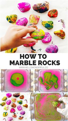 How to Marble Rocks with Paint #rockart #rockpainting #kidsart #kidscraft #rockcraft #paintedrocks
