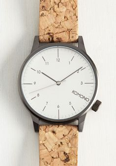 Time Corks Wonders Watch. Fall deeper in love with every passing moment spent with this silvery watch by Komono. #tan #modcloth