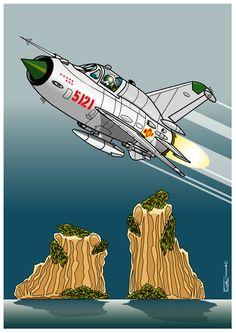 """Mig 21 """"Fishbed""""- f 96 , numéroté 5121 du 96th de la force aérienne du Nord Vietnam, survolant la baie d'Along, 8 victoires à son palmar..."""