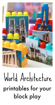 World architecture printables, famous monument printables, construction play ideas, printables for the block center