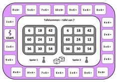 Spelbord tafel van 6. Math Games, Math Activities, Waldorf Math, Math Multiplication, Early Math, Speech Language Therapy, Math For Kids, Math Classroom, Teaching Math