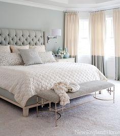 South Shore Decorating Blog: Manic Monday (With Beautiful Rooms)  커튼과 침대의 컬러 조화가 좋다~ 적당히 여성스러우면서 편안한 분위기가 좋다^^