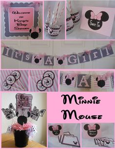 Hey, I found this really awesome Etsy listing at https://www.etsy.com/listing/127798098/minnie-mouse-baby-shower-party-package