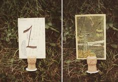 Postcard and Wine Cork Table Number
