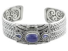 Artisan Gem Collection Of Bali(Tm) Rectangular Cusion And .74ctw Pear Shape Tanzanite Silver Cuff