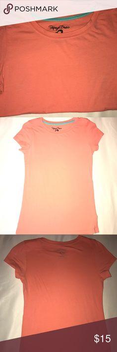 Papaya Basic Shirt Worn Once. Peach Color. Fitted Shirt. Papaya Tops Tees - Short Sleeve