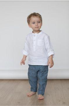 Boys Linen Pants, Boys Denim Shirt, Boys Dress Shirts, Boys Shirts, Denim Shirts, Baby Boy Shirts, Boys Summer Outfits, Toddler Boy Outfits, Kids Outfits